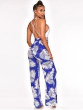 Backless Split Hem Printed Jumpsuit