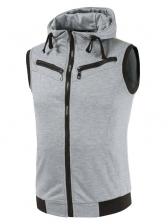Simple Design Solid Zipper Up Hooded Vest