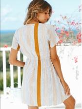Euro Striped Button Up Short Sleeve Dress