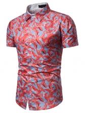 Beach Style Turndown Collar Print Shirt