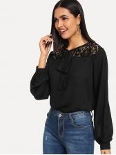 Fashion Lace Patchwork Chiffon Blouse Design