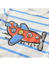 Cute Cartoon Striped Short Sleeve Baby T-Shirt