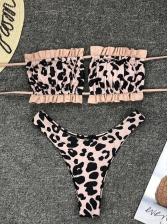 Sexy Leopard Printed Draped Bikinis