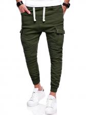 Casual Solid Drawstring Harem Pants For Men
