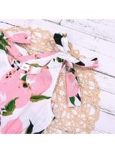 Summer Fruit Print Tie-Shoulder Girls Romper