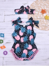Summer Pineapple Print One Piece Suits