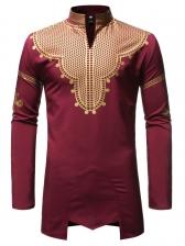Long Sleeve Stand Collar Bronzing Pattern Shirt