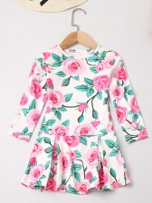 Summer Mother And Girls Print Long Sleeve Dress