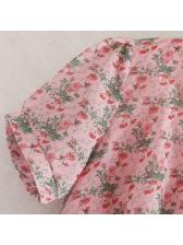 Euro V Neck Floral Pink A-Line Dress