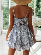 Fashion Floral Flounced Hem Floral Sundress