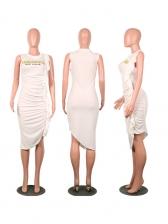 Crew Neck Draped Letter White Dress