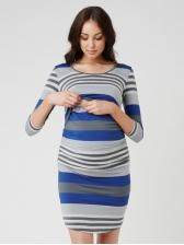 Round Collar Striped Maternity T-Shirt Dress