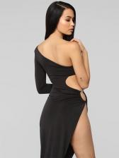 One Shoulder Hollow Out Asymmetrical Black Dress