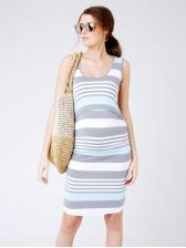 Comfortable Striped Sleeveless Maternity Dress