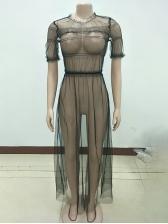 Euro Sexy Perspective Gauze Maxi Dress