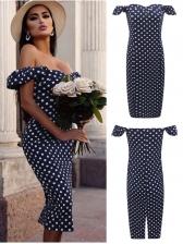 Summer Boat Neck Polka Dots Knee-Length Dress
