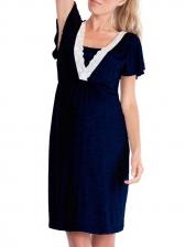 Maternity Lace Trim Cotton Dress For Women