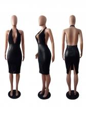 Deep V Neck Lace Pu Patchwork Halter Black Dress