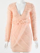 Deep V Neck Stringy Selvedge Draped Bodycon Dress