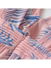 Sweet V Neck Leaves Print Backless Dress