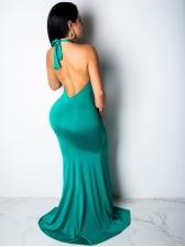 Sexy Draped Backless Halter Long Evening Dress