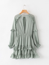 Crew Neck Agaric Laces Green Long Sleeve Dress