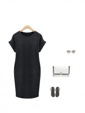 Simple Design Loose Short Sleeve Black Dress