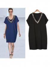 Sequin Decor V Neck Straight Short Sleeve Dress