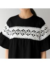 Flare Sleeve Crochet Decor Straight Dress