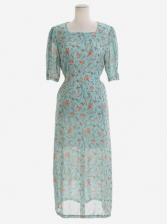 Fresh Style Square Neck Floral Chiffon Dress