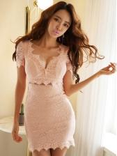 V Neck Smart Waisted Pink Lace Bodycon Dress