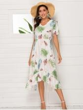 V Neck Leaves Printed Elastic Waist Midi Dress