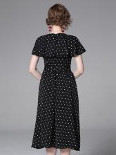 Summer V Neck Polka Dots Tie-Wrap Midi Dress