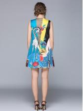 Crew Neck Cartoon Printed Vest Dress