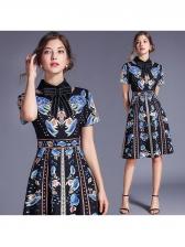 Elegant Bow Neck Exquisite Printed A-Line Dress