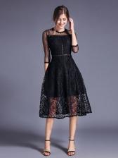 Crew Neck Smart Waisted Black Lace Dress