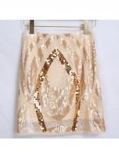 Summer Stripes Beading Sequined Mini Skirt
