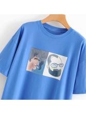 Casual Crew Neck Cartoon Printed Women T-shirt
