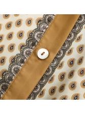 Stand Collar Cashew Print Button Up Short Sleeve Dress