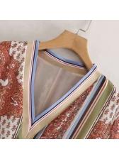 V Neck Color Block Print Long Sleeve Dress
