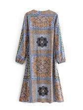 V Neck Cashew Print Tie-Wrap Long Sleeve Dress