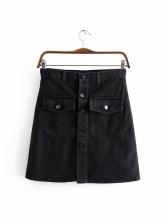 Euro Style Button Up Pocket Denim Short Skirt