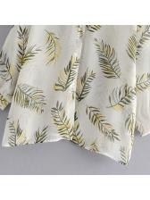 Vintage Style Leaves Printed Turndown Collar Blouse Design