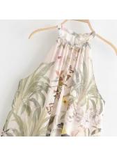 Sexy Backless Print Beach Halter Maxi Dress