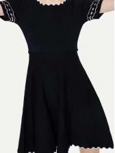 Crew Neck Color Block Knit Short Sleeve Dress