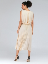Simple Design Solid Fitted Sleeveless Chiffon Dress