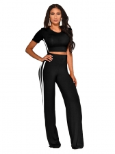 Crew Neck Ribbon Decor Wide Leg 2 Piece Outfit