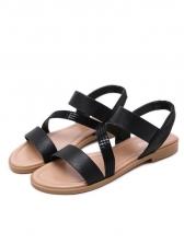 Cozy Glitter Crossed Strap Women Flat Sandals