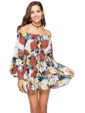 Boat Neck Off The Shoulder Print Dress