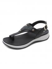 Casual Metal Splicing One Toe Comfortable Flat Sandals